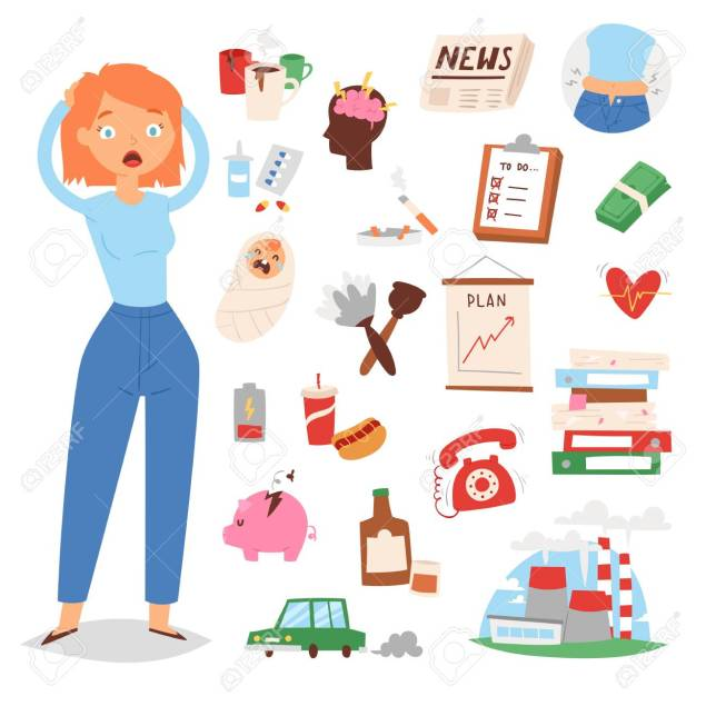 Stress cartoon woman girl character vector illustration